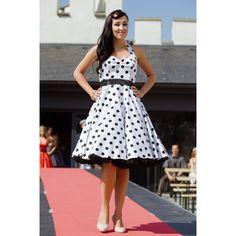 Retro šaty biele s veľkými bodkami - koktejlové šaty, šaty na promócie, šaty na svadbu Salons, High Low, Retro, Vintage, Dresses, Style, Fashion, Lounges, Gowns
