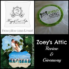 Zoey's Attic $35 gift card giveaway (Personalized Gifts, Wedding, anniversary, shower, pillow, christmas ornaments, etc) ends 7/12