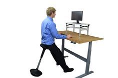 Our active sit chair is the perfect complement to your standing desk.  Take a break from standing without getting too relaxed and lazy.  Featured in the Huffington Post and used by news anchors at KTLA