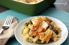Our baked cheesy orzo recipe is your new favorite casserole. Make this dish with chicken and your choice of seasonal veggies and seasonings. Orzo Recipes, Lunch Recipes, Dinner Recipes, Dinner Ideas, Chicken Drumstick Recipes, Paleo Chicken Recipes, Cooking Recipes, Asparagus Dishes, Asparagus Recipe