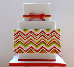 Colorful Chevron Square Tiered Cake