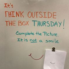 Think Outside the Box Thursdays are probably my favorite million dollar question. Think Outside the Box Thursdays are probably my favorite million dollar questions because they are Future Classroom, School Classroom, Classroom Activities, Classroom Organization, Classroom Management, Classroom Ideas, Thinking Day, Thinking Outside The Box, Morning Board
