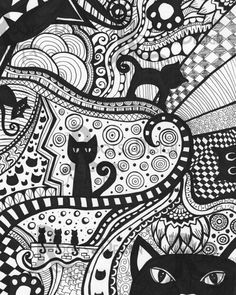 INSTANT DOWNLOAD Coloring Page - Cat Art Print zentangle inspired doodle art printable Black Cats