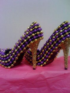 Wowsers! Dress to kill in these Mardi Gras bead shoes.