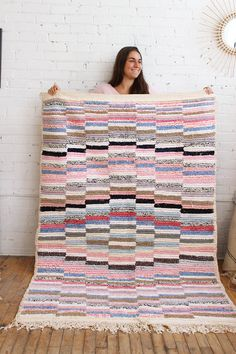 """Pastel Boucherouite Rug, 100% Cotton, Handmade In Morocco – 4'2""""x 6'5″. From Baba Souk"""