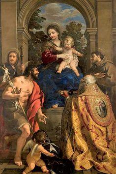 Pietro da Cortona, Madonna con Bambino e i Santi Giacomo, Giovanni Battista, Stefano papa e Francesco, olio su tela 1626 – 1628, Museo dell'Accademia Etrusca