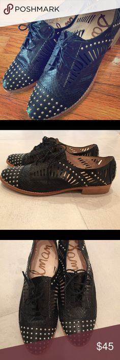 Sam Edelman Jayden studded oxfords. Cute oxfords with rocker studs and perforated leather. Worn once. These run narrow so fit like a 9, or narrow 9.5. Sam Edelman Shoes Flats & Loafers