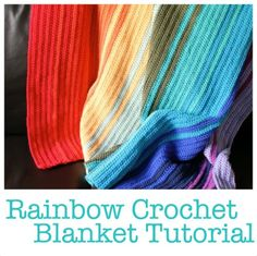 Crochet Rainbow Blanket Tutorial - The Crafty Mummy