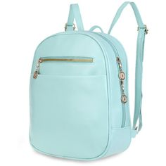 Jenna pastel small backpack ($64) ❤ liked on Polyvore featuring bags, backpacks, zipper bag, day pack backpack, pastel bag, blue bag and blue backpack