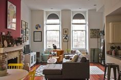 masterful use of 675 sq ft with eclectic design scheme  Wendy's Wonderful Parlor Pad — Small Cool