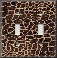 Light Switch Plate Cover - Animal Print Decor - Dark Brown Giraffe Pattern