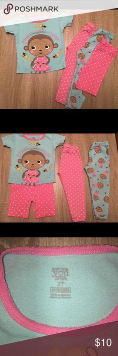 Monkey 4 piece Pajamas Monkey - 4 piece pajamas - shorts, 2 shirts, 2 pants - 2T carters Pajamas Pajama Sets