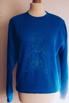 Den, Screen Printing, Jumper, Graphic Sweatshirt, Sweatshirts, Prints, Sweaters, Blue, Fashion