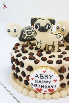 Pug & Turtles Birthday Cake Icing cookies decoration