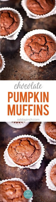 Pumpkin Chocolate Chocolate Chip Muffins make a special treat for breakfast, brunch or an afternoon snack! These are a definite fall favorite! // addapinch.com
