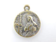 Vintage Saint Rita - Virgin Mary Catholic Medal - Patron Saint of Mothers - Mother's Day Charm - Rosary Supplies - Catholic Jewelry - X35 by LuxMeaChristus on Etsy