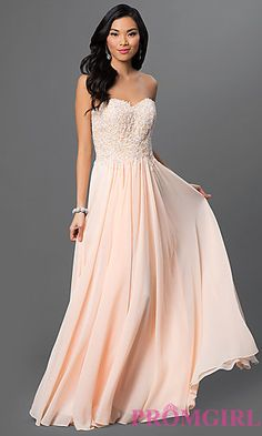 Strapless Floor Length Dress with Corset Back at PromGirl.com