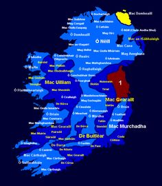 Clans of Ireland (Irish Gaelic) Irish Customs, Irish Names, Ireland Map, Irish Language, Celtic Culture, Irish Roots, Scottish Clans, Irish Celtic, Family Genealogy