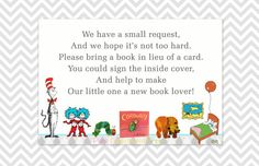 Book instead of a card, In lieu of a card, Please Bring a Book, Dr. Seuss, Hungry Caterpillar, Brown Bear, Goodnight Moon, baby shower on Etsy, $3.00