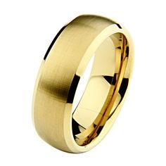 8mm Beveled Gold Plated Cobalt Free Tungsten Carbide Comfort Fit Wedding Band Ring for Men (Size 8 to 13). Tungsten Carbide is one of the hardest metals on earth, making it quite literally scratch proof. **Does not apply for coated Tungsten Bands**. New to the Jewelry World, Tungsten is growing to be one of the most popular choices for Wedding Bands. Promptly Packaged with Free Gift Box...Perfect for gift giving. Orders over $30.00 Include FREE-SHIPPING. Manufactured using only up-to-date...
