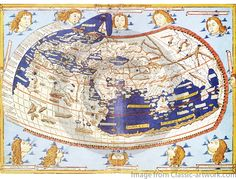 World map by Ptolemy. Yes it is round! The recommended maximal size for this map is 49.5 cm x 69 cm. Order at www.classic-artwork.com