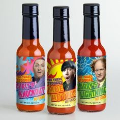 Courtesy of Jimmey Kellley/Mo Hota Mo Betta Mo Hotta Mo Betta will launch their new line of The Three Stooges houtsauces mid June. Spices Packaging, Cool Packaging, Packaging Design, The Three Stooges, Salsa, Branding, Stuffed Hot Peppers, Ready To Go, Label Design