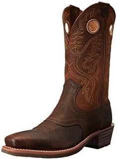 Ariat Men's Heritage Roughstock Square Toe Western Boot,  Brown Oiled Rowdy,  13 D US - http://authenticboots.com/ariat-mens-heritage-roughstock-square-toe-western-boot-brown-oiled-rowdy-13-d-us/