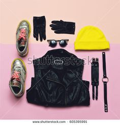 Fashionable Hipster Clothing. Top view. Style every day. Bright Beanie Stylish Shoes Accessories Urban outfit