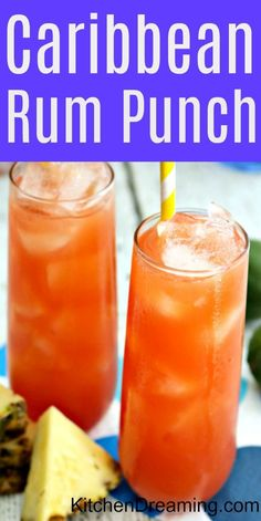 This Caribbean Rum Punch is smooth and satisfying. The drink mixture itself is powerful but without being overpowering. Bring the flavors of the tropics home to the mainland with this delicious Caribbean Rum Punch. via Kitchen Dreaming Alcoholic Punch Recipes, Alcohol Drink Recipes, Alcoholic Beverages, Summer Alcoholic Punch, Fruity Alcohol Drinks, Summer Drinks, Fun Drinks, Easy Rum Drinks, Easy Cocktails