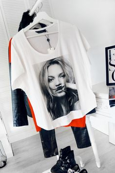 Modna koszulka z nadrukiem Kate Moss Kate Moss, T Shirts For Women, Tops, Fashion, Moda, Fashion Styles, Fashion Illustrations