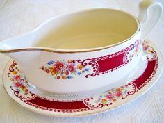 gravy boats | Vintage Homer Laughlin Brittany Gravy Boat Drip Plate Set maroon band ...