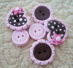 Choco Heart with Lace Trim Handmade Polymer by RainbowDayHappy,