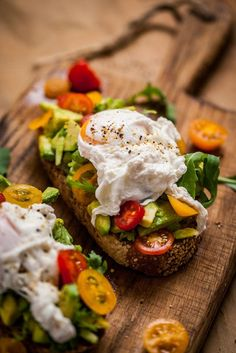 Sesame bruschetta with poached egg and avocado.