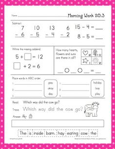 Freebie* Providing your students with a meaningful task will be a snap with this daily morning work. Take attendance, speak with a parent...your students will have a routine and know that learning begins as soon as they walk in the door. This freebie is a sample of the units for sale at my store. You can buy them in three different bundles. I also use this packet as a center, quiet work when they complete a task or in the mornings as a daily activity.