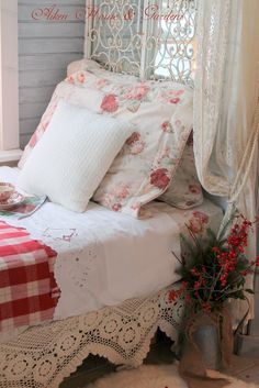This bed skirt is similar to mean and the pattern on the pillow sham is the same as our curtains and slip cover...not sure if they are too feminine perhaps they are going to the sewing room not the bedroom.