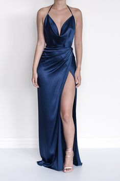 Alina Wrap Dress : Navy satin wrap dress with cowl neck and backless design Pretty Prom Dresses, Elegant Dresses, Cute Dresses, Beautiful Dresses, Sexy Formal Dresses, Prom Outfits, Dress Outfits, Fashion Dresses, Dress Up