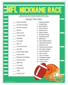 Match NFL teams to nicknames, players, their fans or their stadium! Football party game, thanksgiving games.