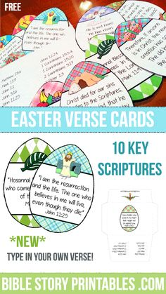 Easter Bible Verse Printables Blank Version Now Available: Type in any language or version! Perfect for homeschool, kid min and child sponsor programs. Easter Crafts For Toddlers, Easter Activities, Easter Crafts For Kids, Easter Ideas, Easter Story For Kids, Easter Games, Easter Decor, Easter Story For Preschoolers, Sunday School Activities