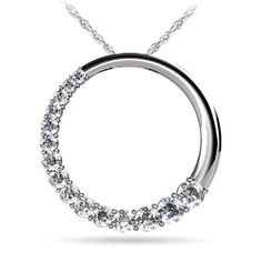 Round Journey Diamond Pendant in White Gold (1 ctw) This journey diamond pendant features fifteen graduated round cut diamonds (0.02ct - 0.13ct) on half of the circle. Suspended by a white gold cable-link chain and approximately 1 carat total weight. Proudly made in the USA.
