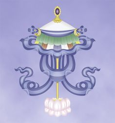Eight Sacred Symbols: The Protection Parasol | The precious parasol symbolizes the wholesome activity of preserving beings from illness, harmful forces, obstacles and so forth in this life.