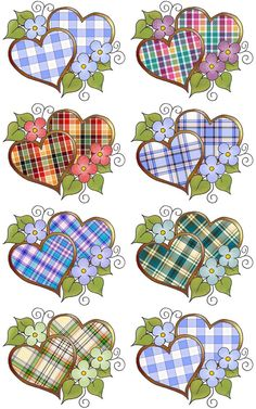 ArtbyJean - Love Hearts: Digital collage sheets with plaid or tartan patterns