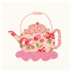 "Free teapot appliqué at HowStuffWorks ""Teapot Quilt Block"" - cute on tea towel"