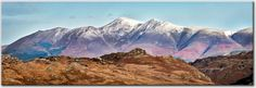 Skiddaw Panorama Canvas Print  The snow capped Skiddaw and Blencathra mountain range, viewed from Watendlath Fell. Lake District, Cumbria, UK