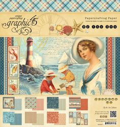 12x12 and 8z8 paper pads from our new collection, By the Sea! Look for it in stores in early February #graphic45