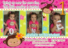 Monkey Love - Birthday Photo Invite - 1 year old 2 years old Party Invitation Card - Girl Flower - 2 Options Available - Mod Monkey. via Etsy.