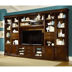 Hammary Brighton in. Entertainment Center - Dark Mocha Brown - The Hammary Brighton in. Entertainment Center - Dark Mocha Brown provides an entire house's worth of storage in one beautiful, expansive. Living Room Wall Units, Big Living Rooms, Small Rooms, Small Spaces, House Worth, Entertainment Wall, Entertainment Centers, Cool Tv Stands, Desk With Drawers
