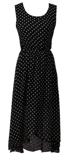 Black Sleeveless Polka Dot Chiffon Dress