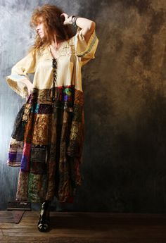 Vintage 1970s 1980s Hippie Gypsy Patchwork Dress Bell Sleeves Lace up Bodice Large Reconstructed