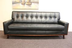 Pair Of G Plan Vintage Fifty Nine Range Black Leather 3 Seater Sofas