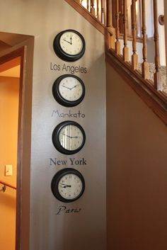 Time zone clock wall. I like this for an office, with places where loved ones live. I would do nameplate holders underneath so we could change out the places represented by the clocks.